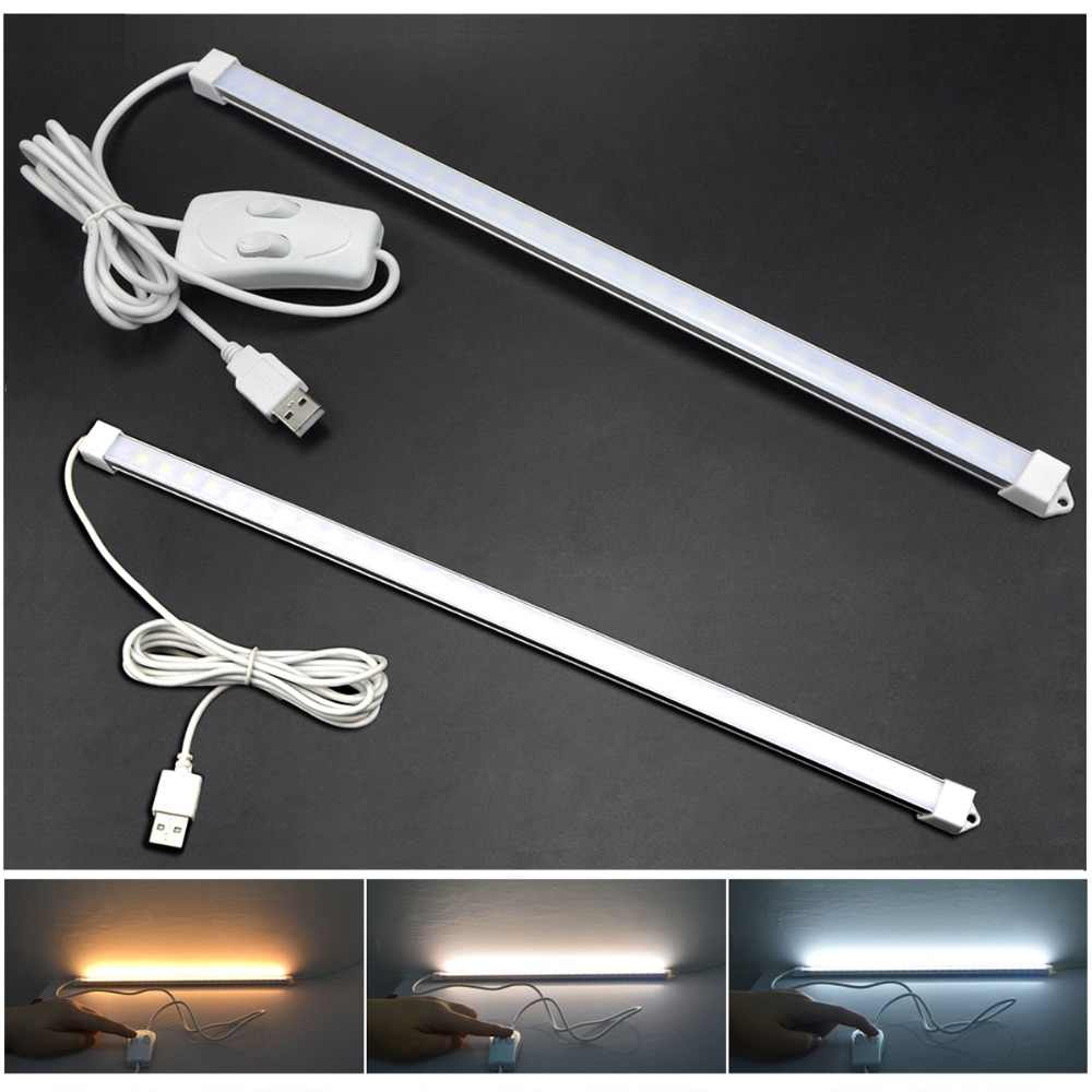 Portable USB LED Cabinet Light DC 5V Hard wall lamp tube Reading Desk light with button switch on/off For Kitchen Night Lighting