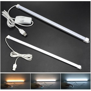 Portable USB LED Cabinet Light DC 5V Hard wall lamp tube Reading Desk light with button switch on/off For Kitchen Night Lighting(China)