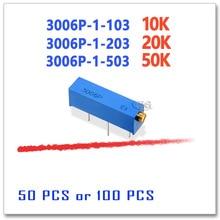 50 Uds 100 Uds 3006P 10K 20K 50K 103 de 203 de 503 de precisión ajustable Trimmer DIP OHM 3006P 1 103 3006P 1 203 3006P 1 503
