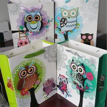 10PCS/lot Color 3D style Owl design 210G White Kraft paper stationery gift bag/Packaging bags/Festival gift bag 320*260*100mm(China)