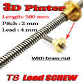 3D Yazıcı THSL-500-8D Kurşun Vida Uzunluğu 500mm ile Bakır Somun Dia 8 MM Pitch 2mm Kurşun 4mm ücretsiz Kargo