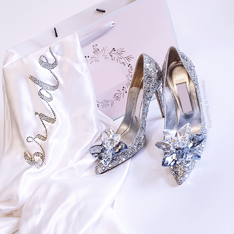 Crystal Wedding Shoes Women Rhinestone High Heels Cinderella Shoes Pointed Toe Pumps