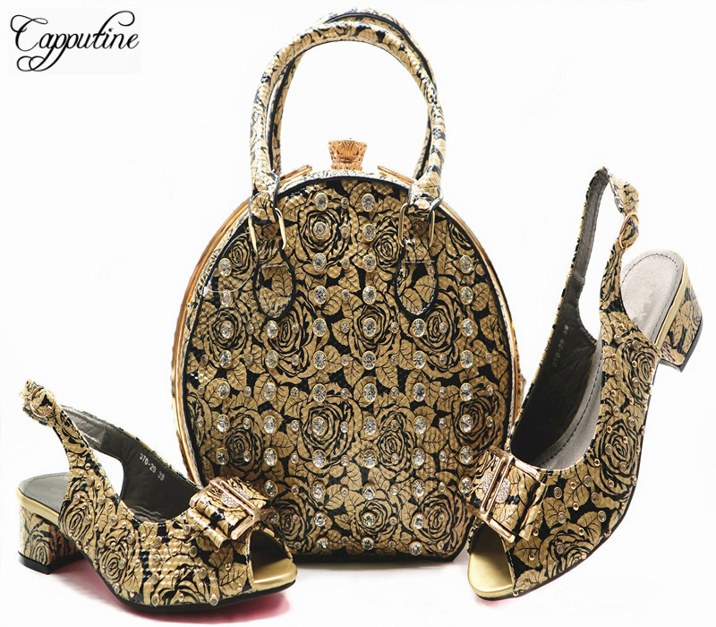 Fashion Italian Low Heels Shoes And Bag Sets For Wedding African Ladies PU Leather Shoes And