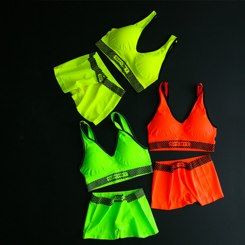 Neon Color New Active   Bra     Set   Sexy Women   Bra   with Pads Seamless Push Up   Bra   Underwear Wireless Green Fitness Streetwear
