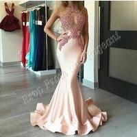 Sexy Lange Abendkleid 2017 Mermaid Sheer O-ansatz Perlen Applique Frauen Dubai Arabischen Stil Abendkleider China