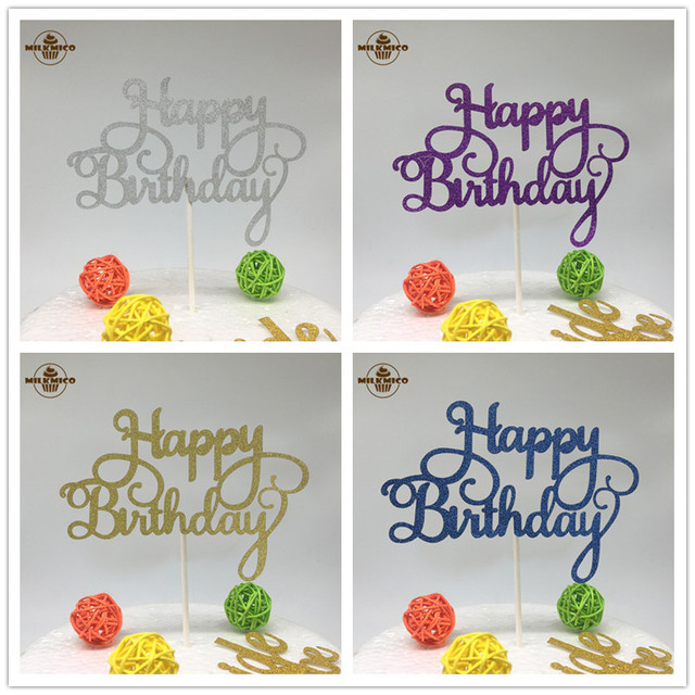 Aliexpresscom Buy 1pc Glitter Cupcake Cake Topper Happy