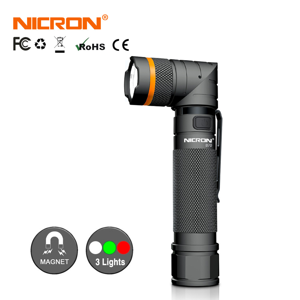 NICRON Magnet 90 Degrees Waterproof 3 Modes 800 Lumens Zoomable LED 5W Ultra Bright LED Flashlight High Brightness Torch B70