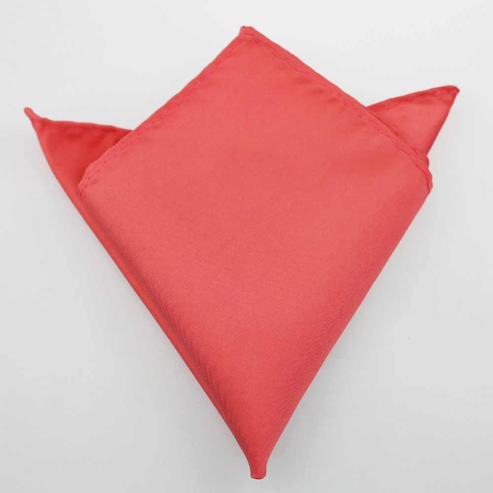 YIBEI Coachella Ties Plain Peach Coral Pink Warna Solid Kurus Dasi Formal Dasi Pocket Persegi Bowtie Jacquard Tenunan Microfiber