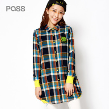 PASS 2017 New Arrival Women Autumn Blouse Fashion Plaid Long Sleeve Single-breasted Blouse Female Cotton Turn-Down Collar Shirt