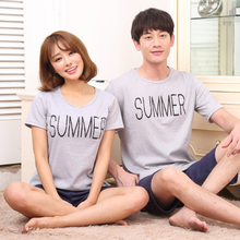 Fashion Couple Causal Cotton Pajama Set Women Pyjamas Short Sleeved Sleepwear O-neck Nightgown Summer Lovers Home Wear for Men