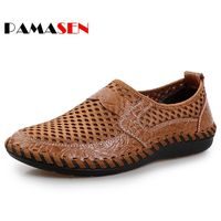 2017 Summer Breathable Mesh Shoes Mens Casual Shoes Genuine Leather Slip On Lazy Shoes Fashion Summer