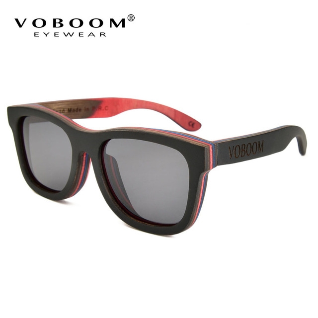 9866673647 VOBOOM Polarized UV400 Green Skateboard Sunglasses Brand Original Handmade  Wood Glasses Oculos Eyewear 001 HH
