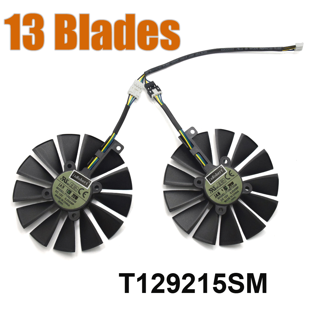 2PCS 13-Blades T129215SM 4PIN DC12V 0.25AMP Cooler Fan FOR GTX1070TI-8G ROG-GTX1080TI-P11G-Gaming Graphics Card Cooling Fan computador cooling fan replacement for msi twin frozr ii r7770 hd 7770 n460 n560 gtx graphics video card fans pld08010s12hh