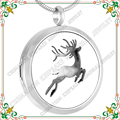 CMP0026 Round Silver Tone Deer Perfume Locket, Aromatherapy Essential Oils Diffuser Pendant Aroma necklace