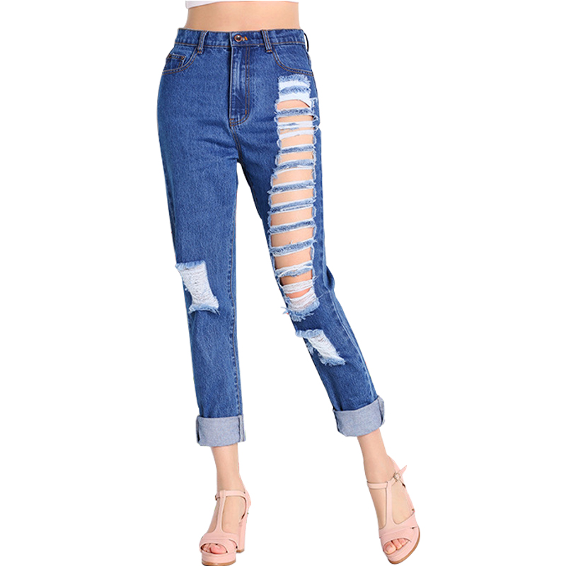 Women's Loose Blue Distressed Boyfriend High Waist Straight Pants Ankle-length Jeans paradise lost paradise lost tragic idol lp cd