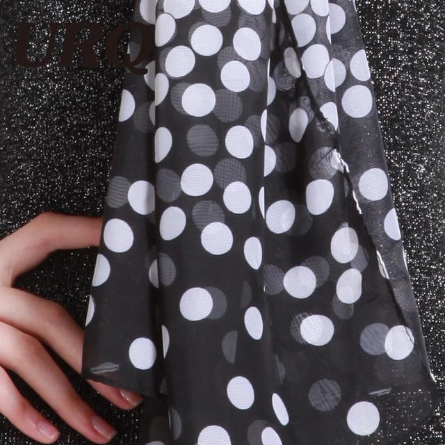 50*160 chiffon scarf for women 2016 New Fashion Women Lady Polka Chiffon Warm Hem Scarf Headscarf Shawl Blue Black Pink