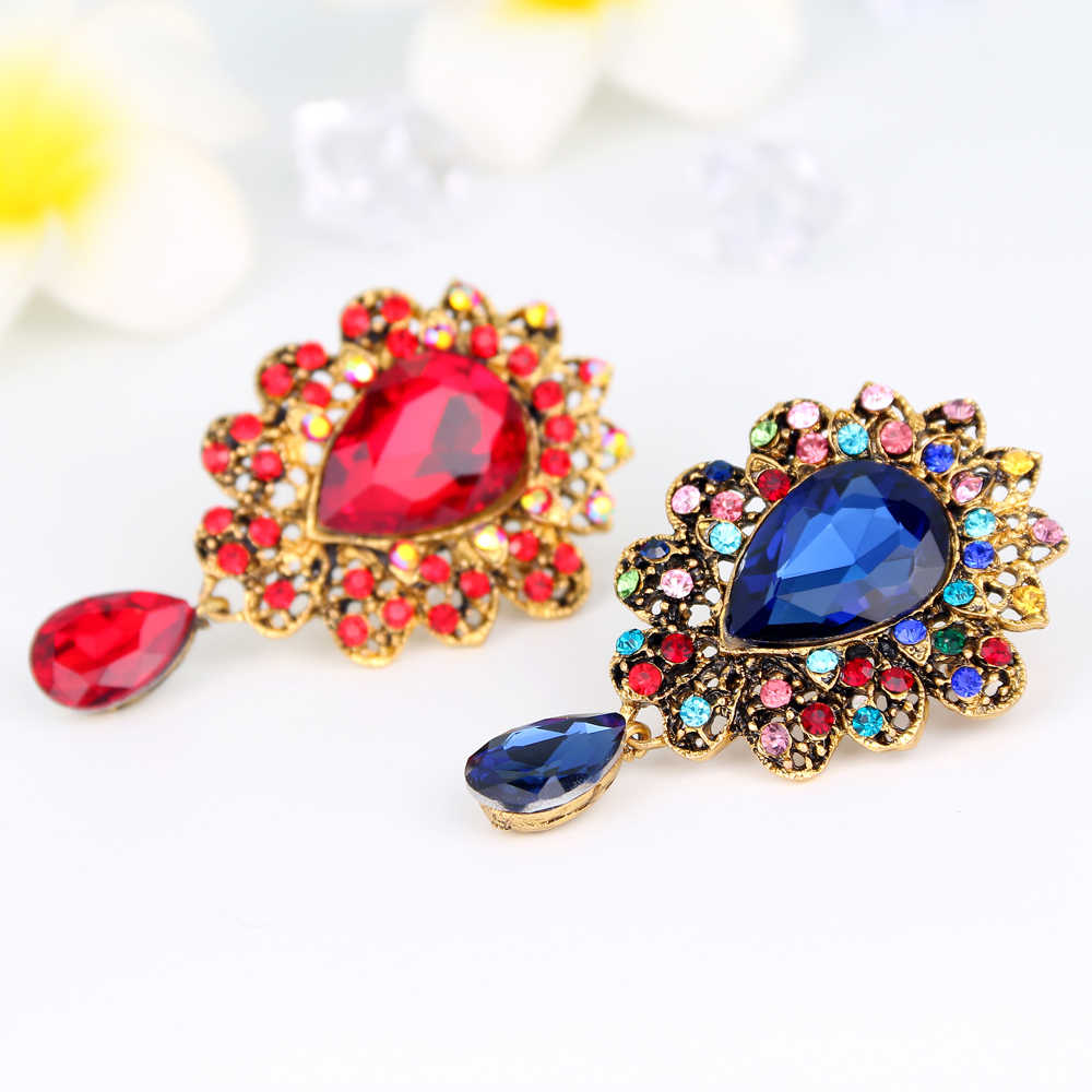 eb620b309 ... Water Drop Big Middle Crystal Rhinestones Brooch Bouquet Brand Jewelry  Big Red Glass Brooch Pin for ...