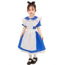 5baec22d9faaf Fille bleu Alice au pays des merveilles Costume d halloween pour enfants  fête Lolita robe