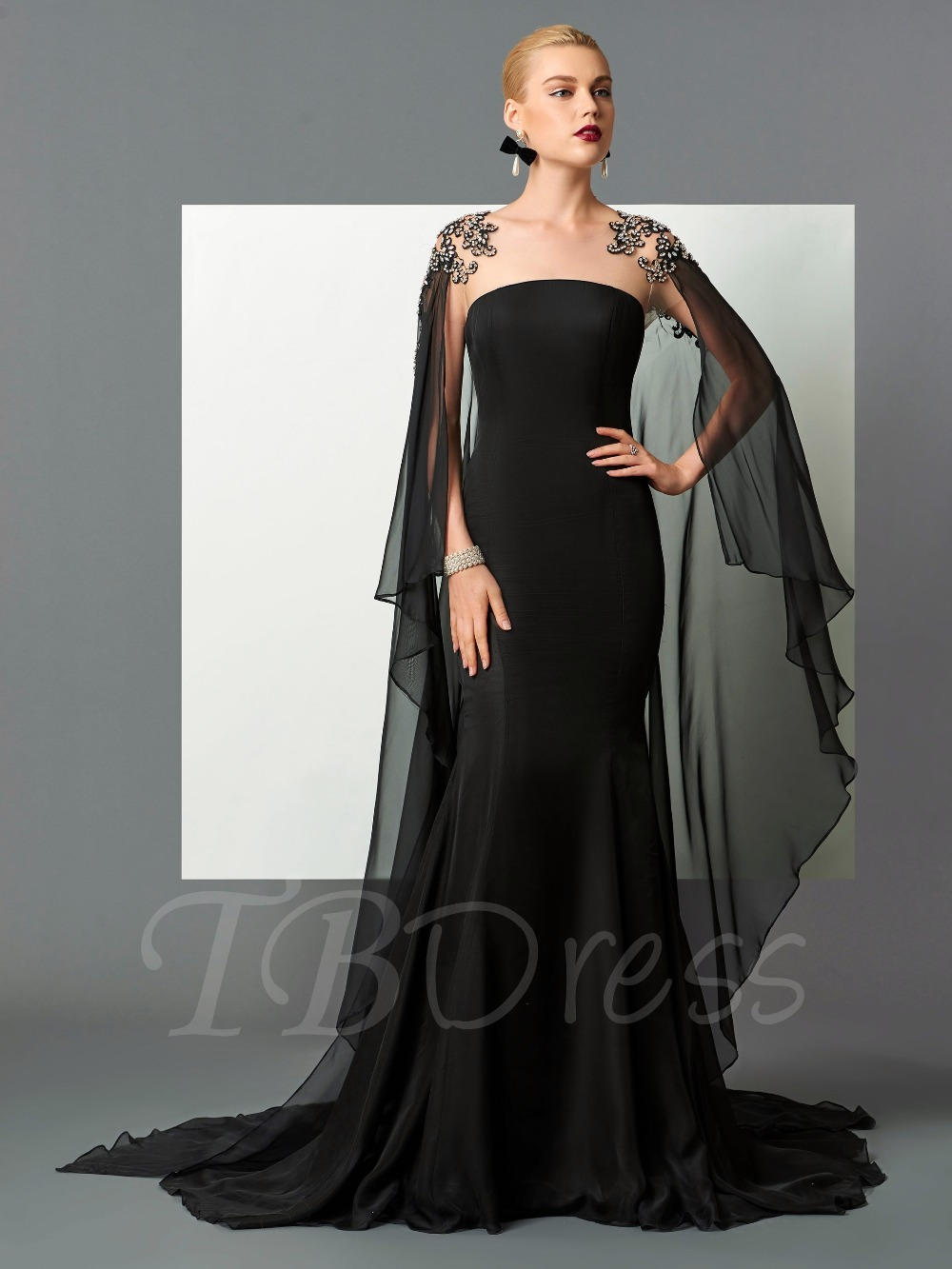 Sexy Sheer Neck Black Chiffon Mermaid Evening Dresses With Beaded ...