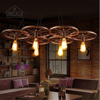 Industrial Large Pendant Lights Wrought Iron Lighting Office Bar Hotel Kitchen Island Brown Light Antique Ceiling Lamp