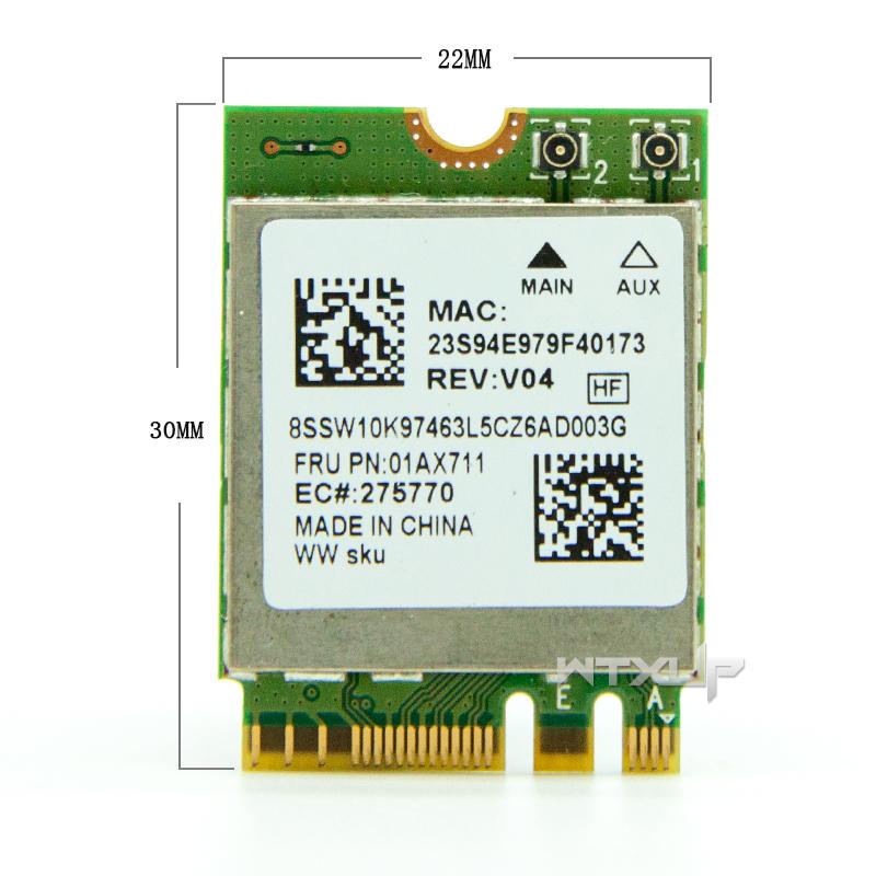 US $14 5 |Original Realtek 8822BE RTL8822BE NGFF 802 11ac 2 4G/5GHz  Wireless Wifi Card+Bluetooth 4 1 FRU: 01AX711 For Thinkpad L470 L570-in  Network