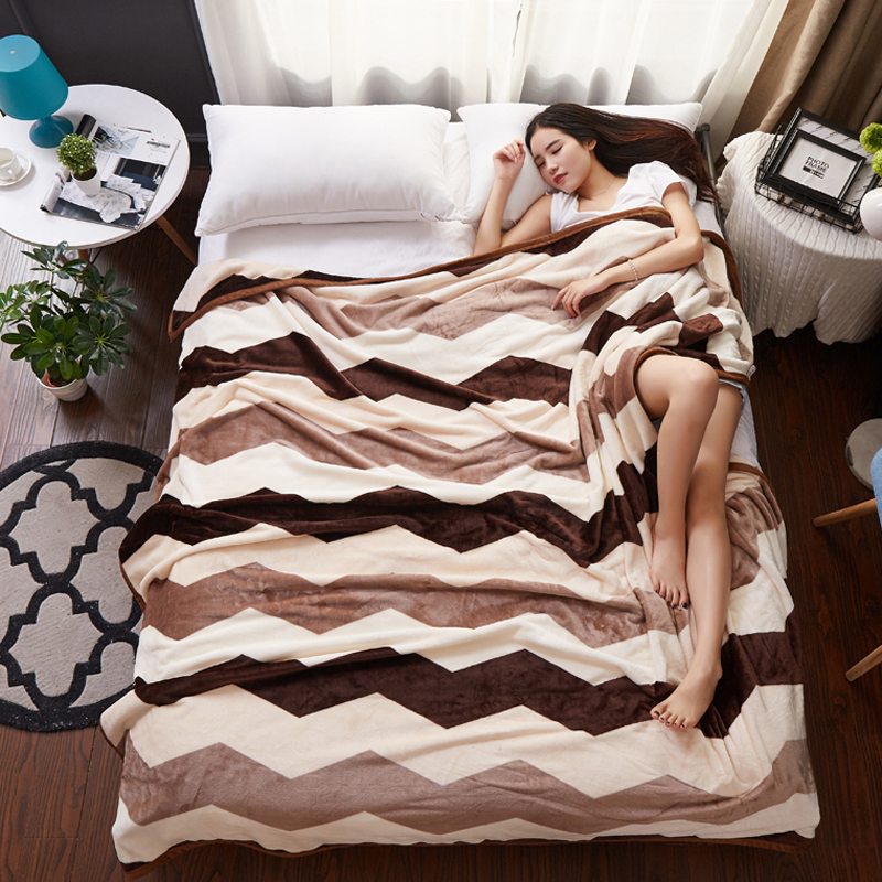 Fashion Brief Warm Soft Faux Mink Flannel Blanket Throw Twin/Full/Queen/King Size Bed/<font><b>Sofa</b></font>/Air Cover Bedsheet Brown Chevron Wave