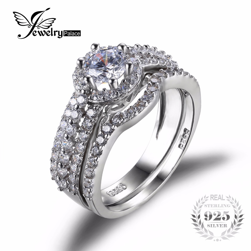 Cubic Zirconia Set Bands: JewelryPalace Pure 925 Sterling Silver 2ct Cubic Zirconia