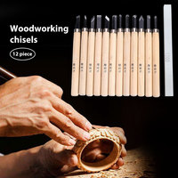 12PCS Set Handmade Woodcut Knife Wood Carving Hand Tools Wood Color Carpentry Carving Knife Carving Project