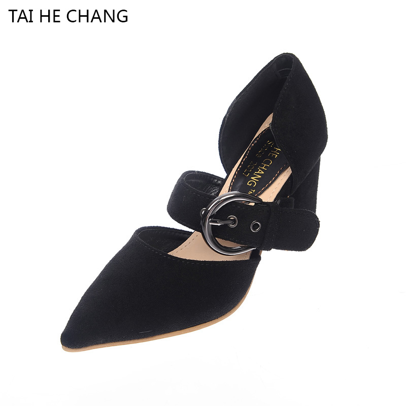 2017 New Autumn Winter Korean Style Pointed Toe Pumps With Flock Thick Heels Buckle Strap Shallow Women Shoes Zapatos Mujer 2015 autumn korean style pointed shoes with thin heels original glass double peach heart design shoes leather shoes