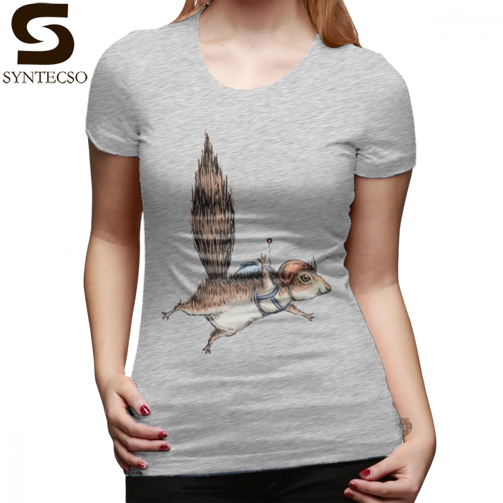 Squirrel T-Shirt Skydiver Squirrel T Shirt Plus Size Simple Women tshirt Navy Short Sleeve O Neck Print Ladies Tee Shirt