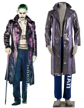 Free Shipping Suicide Squad Joker Overcoat Film Cosplay Costume