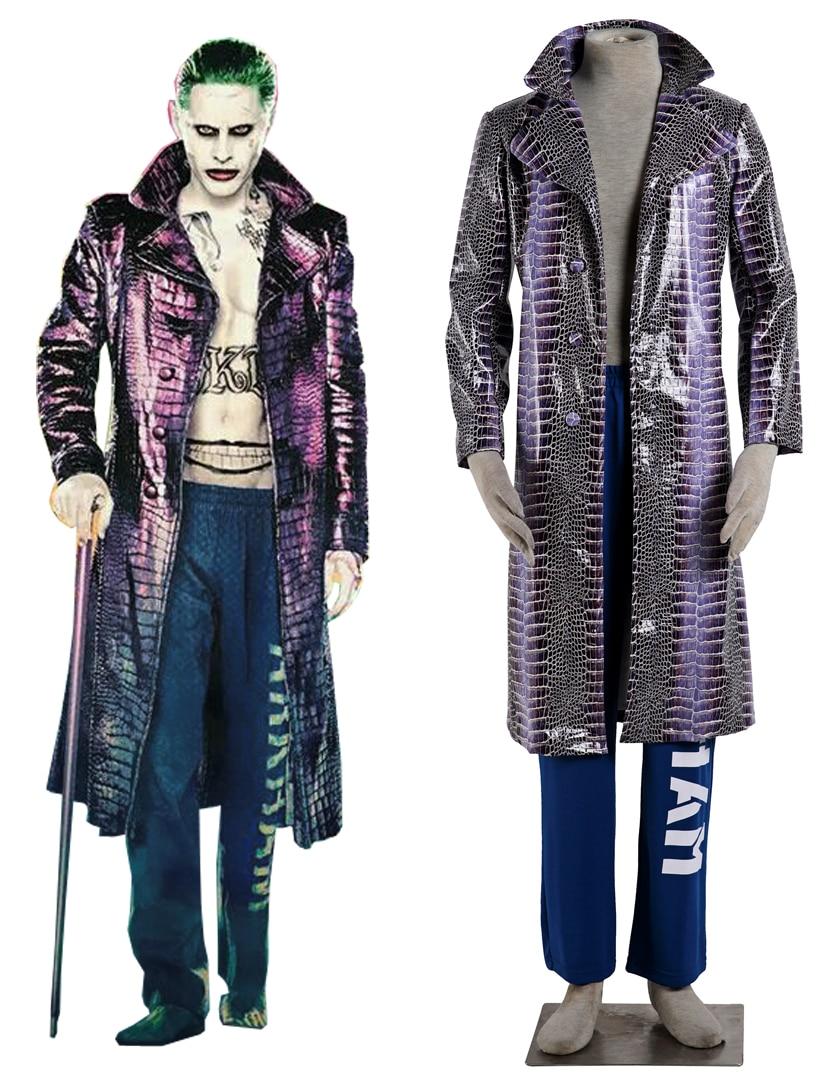 Bescheiden Gratis Verzending Suicide Squad Joker Overjas Film Cosplay Kostuum 100% Hoogwaardige Materialen