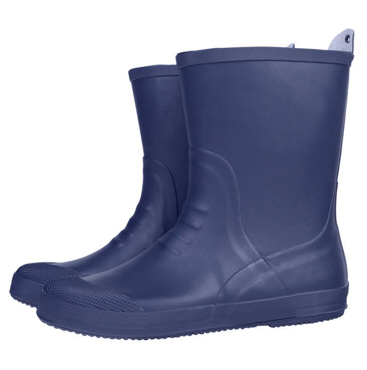 D'eau Mi Automne Blue Sécurité Rouroliu Imperméable Mâle Travail Homme À De L'eau Chaussures Bottes veau Fr27 En Rainboots Hommes slip Caoutchouc Non wY11tq