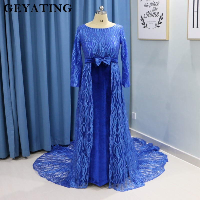 6c8bf74f1c1 Sparkle Royal Blue Velvet Maternity Evening Dress for Pregnant Women Plus  Size Formal Prom Dresses Long Sleeves Empire Waist