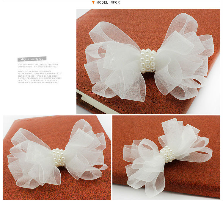 #MD50501 2017 New Style Hair Accessories Girls Women 10 cm Bow knot Hairclip Hair Ornament Yarn Bow With Peals Hair Clip
