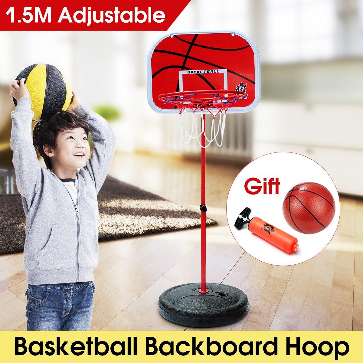 1.5m Height Adjustable Kids Mimi Basketball Hoop Rim Net Set Backboard Basket Ball 72-150cm Red Basketball Hoop+Basketball+Pump