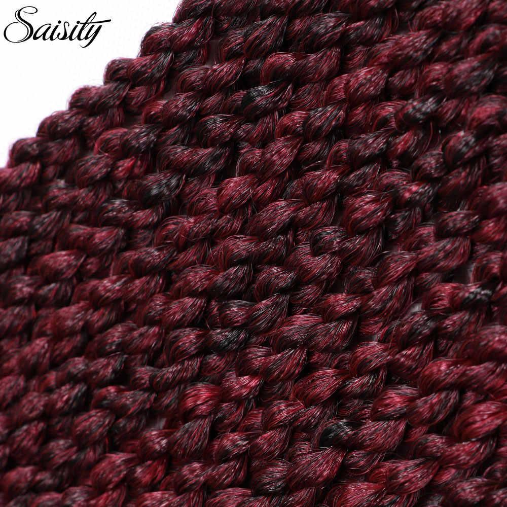 Saisity вязанные косички для волос Омбре плетение синтетические накладные волосы вязанные косички 3D кубический твист 22 дюймов 12 корней 120 г
