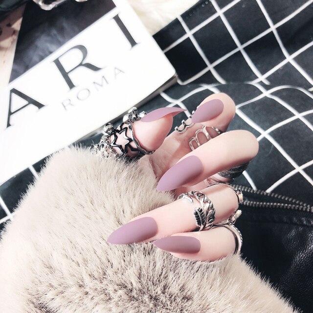 Electriol uñas postizas mate 24 piezas puntas largas para 10 Gel de Chip de Color puro para extensiones de uñas puntas de uñas Faux ongles uñas falsas BTZ1