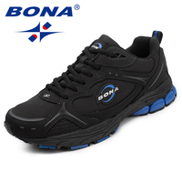 BONA New Classics Style Men Running Shoes Lace Up Men Sport Shoes Leather Men Outdoor Jogging Sneakers Comfortable free shipping