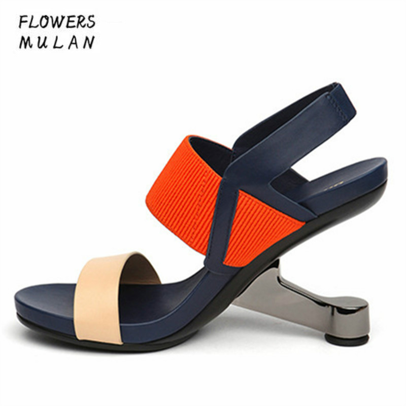 2018 Fashion Women Shoes Genuine Leather Gladiator Summer Sandals High Heels Sexy Wedding Shoe Woman Open Toe Pumps Strange Heel