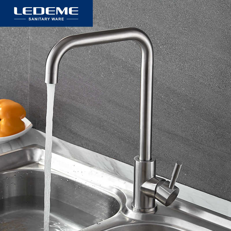 LEDEME 360 Single Handle Single Hole Kitchen Faucet Mixers Sink Tap Wall Kitchen Faucet Modern Hot and Cold Water L4998-4