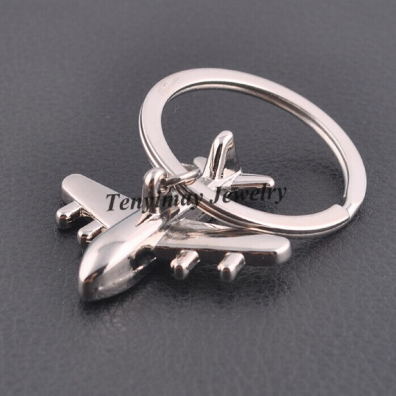 Fashion Men's Keyrings Metal Airplane Keychain For Promotion Gift  20pcs/Lot airplane inflatable keychain locatorkeychain digital photo album  - AliExpress