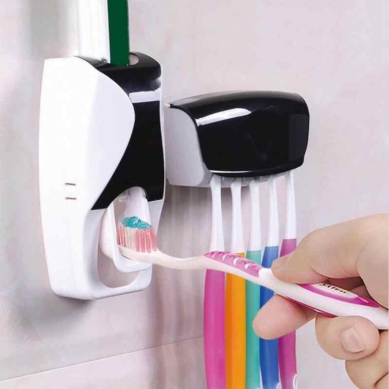 1 zestaw akcesoria łazienkowe zestaw automatyczny dozownik pasty do zębów szczotka do zębów uchwyt na wieszak montażu na ścianie zestaw kosmetyków materiały łazienkowe