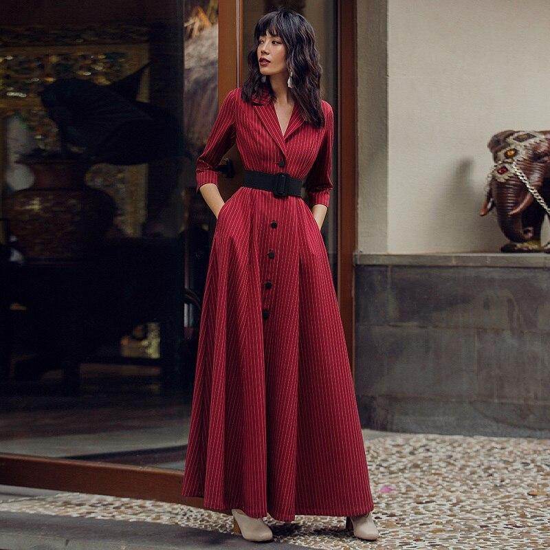 Haute qualité nouvelle marque 2019 printemps automne longue robe d'affaires femmes col cranté imprimé rayé simple boutonnage longue Maxi robe