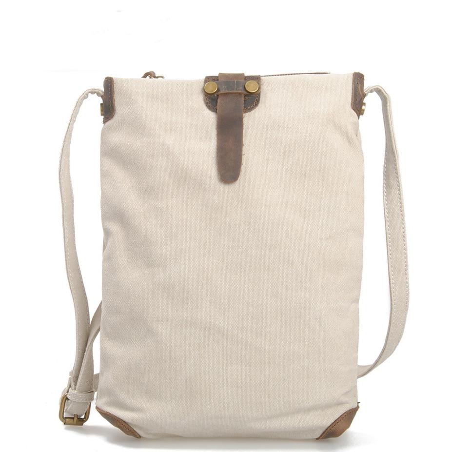 Women's Cotton Canvas Bag With Cowhide Shoulder Bag Crossbody Messenger Bag
