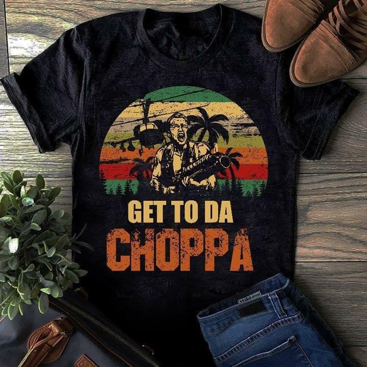 Predator Arnold Schwarzenegger Get To Da Choppa Vintage T Shirt Black Men S 4Xl