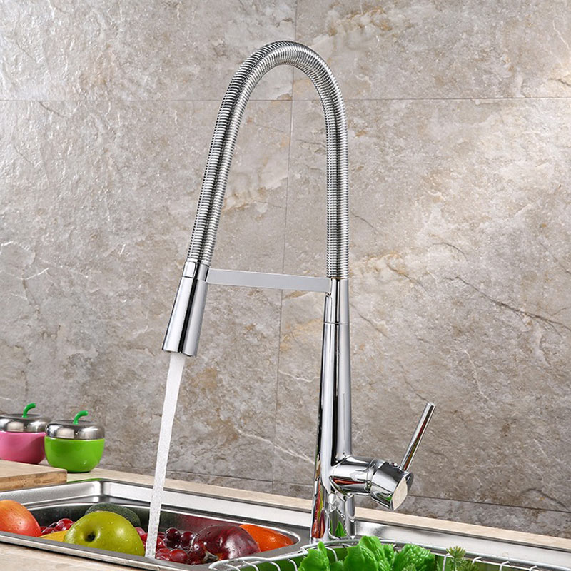 chrome all copper hot and cold smoked pull out type kitchen faucet Dish universal sink two functional bibcock faucet 360 degree dish best served cold