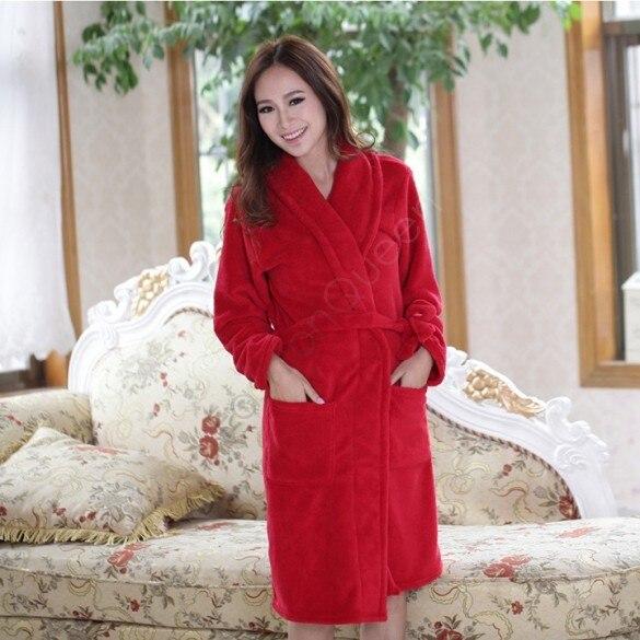 Newest Flannel Robe Bath Robe House Coat Women Nightgown Unisex ...