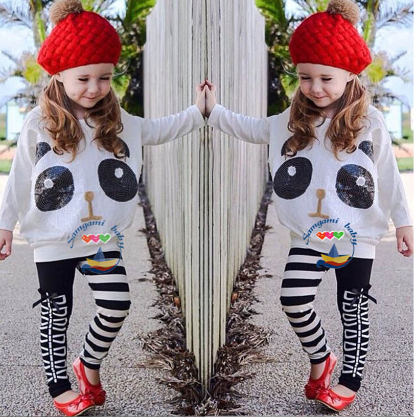 2017 child Summer New Children clothing set Girl's 2PC Sets baby Clothing sets girls clothes panda tee print+girl stripe legging