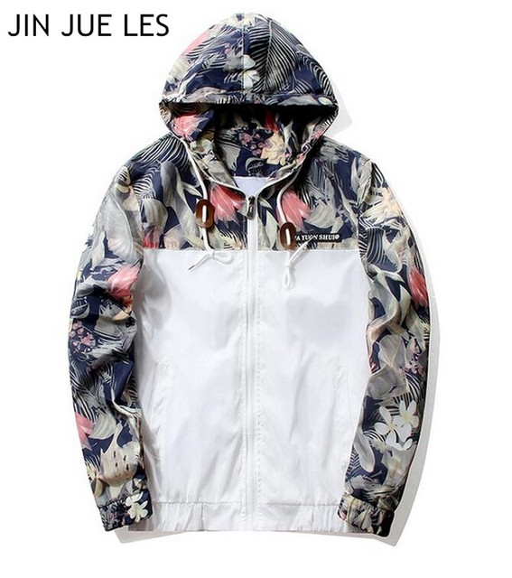 JIN JUE LES Floral bombardero chaqueta hombres Hip Hop Slim Fit ...